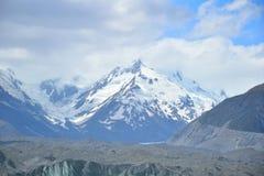有塔斯曼冰川的库克山在前景 库存图片