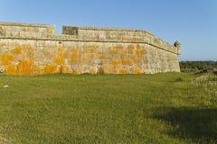有塔的老堡垒在绿色领域 免版税库存图片