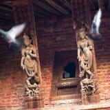 有塔的老Durbar广场 尼泊尔大城市 免版税库存照片