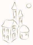 有塔的议院 库存例证