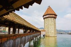 有塔的(Wasserturm),卢赛恩教堂桥梁 库存图片