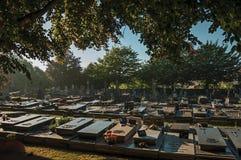 有墓碑和树的平安的公墓在日落在蒂尔特 免版税库存图片
