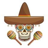 有墨西哥帽和maracas的装饰装饰糖头骨 免版税库存图片