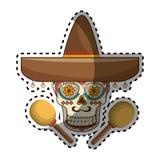 有墨西哥帽和maracas的贴纸装饰装饰糖头骨 免版税库存图片