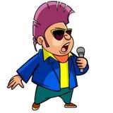 有墨镜的动画片人,唱歌入话筒 免版税库存照片