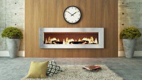 有壁炉和木装饰设计的客厅 免版税库存图片