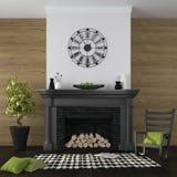 有壁炉和黑和绿的装饰的客厅 图库摄影