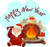 有壁炉的圣诞老人 免版税库存图片