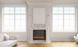 有壁炉的客厅 库存例证