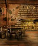 有壁炉的幻想小酒馆 库存照片