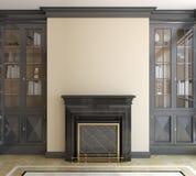 有壁炉的现代客厅。 免版税库存图片