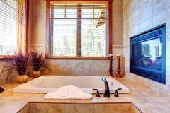 有壁炉的豪华卫生间。热带题材内部 库存照片