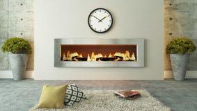 有壁炉装饰设计的客厅 库存照片