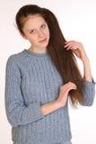 有壮观的头发的美丽的女孩 免版税图库摄影