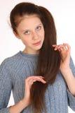 有壮观的头发的美丽的女孩 库存图片
