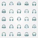 有声波的耳机上色了象商标元素 免版税库存图片