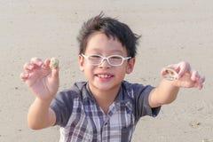 有壳的男孩在海滩 免版税库存照片