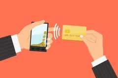 有处理的智能手机从信用卡的流动付款 库存图片