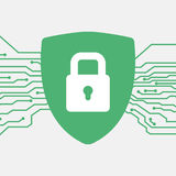 有复选标记的盾 适应图标 保护和抗病毒概念 安全和安全保护系统象 库存照片