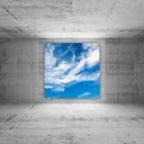 有多云天空的方形的屏幕在抽象屋子里 图库摄影