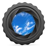 有多云天空的照相机快门 免版税库存照片