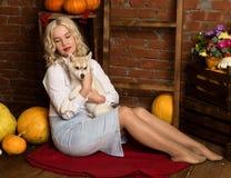 有多壳的小狗的愉快的白肤金发的妇女在秋天收获背景 免版税库存图片