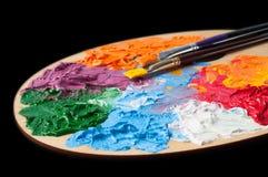 有多彩多姿的油漆的色板显示 图库摄影