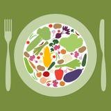有多彩多姿的菜的板材 免版税库存照片