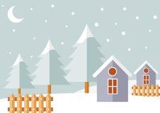 有多雪的风景的逗人喜爱的圣诞节村庄 库存照片