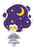 有夜空的女孩在头发-安静和睡眠的概念 库存例证