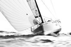 有大三角帆的白色风船在猛撞的速度 免版税库存照片