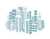 有大厦和摩天大楼的城市。 向量例证