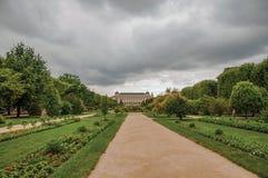 有大厦在背景中和象草的树木繁茂的围场的道路在植物庭院里在巴黎 图库摄影