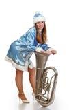 有大喇叭的圣诞老人女孩 图库摄影