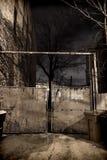 有大型垃圾桶的一个老城市小巷门在晚上 图库摄影