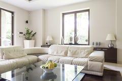 有大壁角沙发的客厅 库存照片