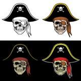 有大帽子的头骨海盗 库存例证
