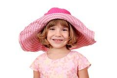 有大帽子纵向的美丽的小女孩 免版税库存照片