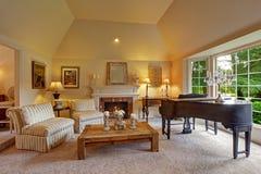 有大平台钢琴和壁炉的豪华家庭娱乐室 库存照片