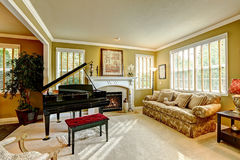 有大平台钢琴的豪华家庭娱乐室 免版税库存图片
