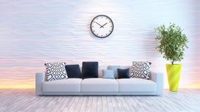 有大手表的客厅在白色波浪墙壁上 免版税库存图片