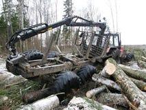 有大拖车的拖拉机 库存图片