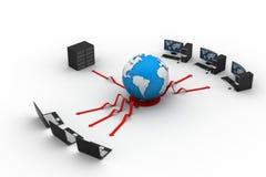 有大服务器和地球的膝上型计算机 图库摄影