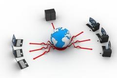 有大服务器和地球的膝上型计算机 免版税库存图片