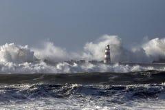 有大波浪的风大浪急的海面 免版税库存照片