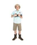 有大照相机微笑的滑稽的人摄影师 免版税库存图片