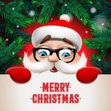 有大牌的圣诞老人 圣诞快乐书信设计 假日问候的,传染媒介创造性的印刷术 皇族释放例证