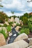 有大石头和具球果植物的一个庭院倾斜的 库存照片