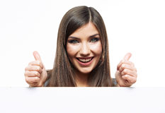 有大空白的委员会的微笑的女商人 库存照片