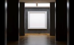 有大空的框架的现实具体画廊室 库存照片